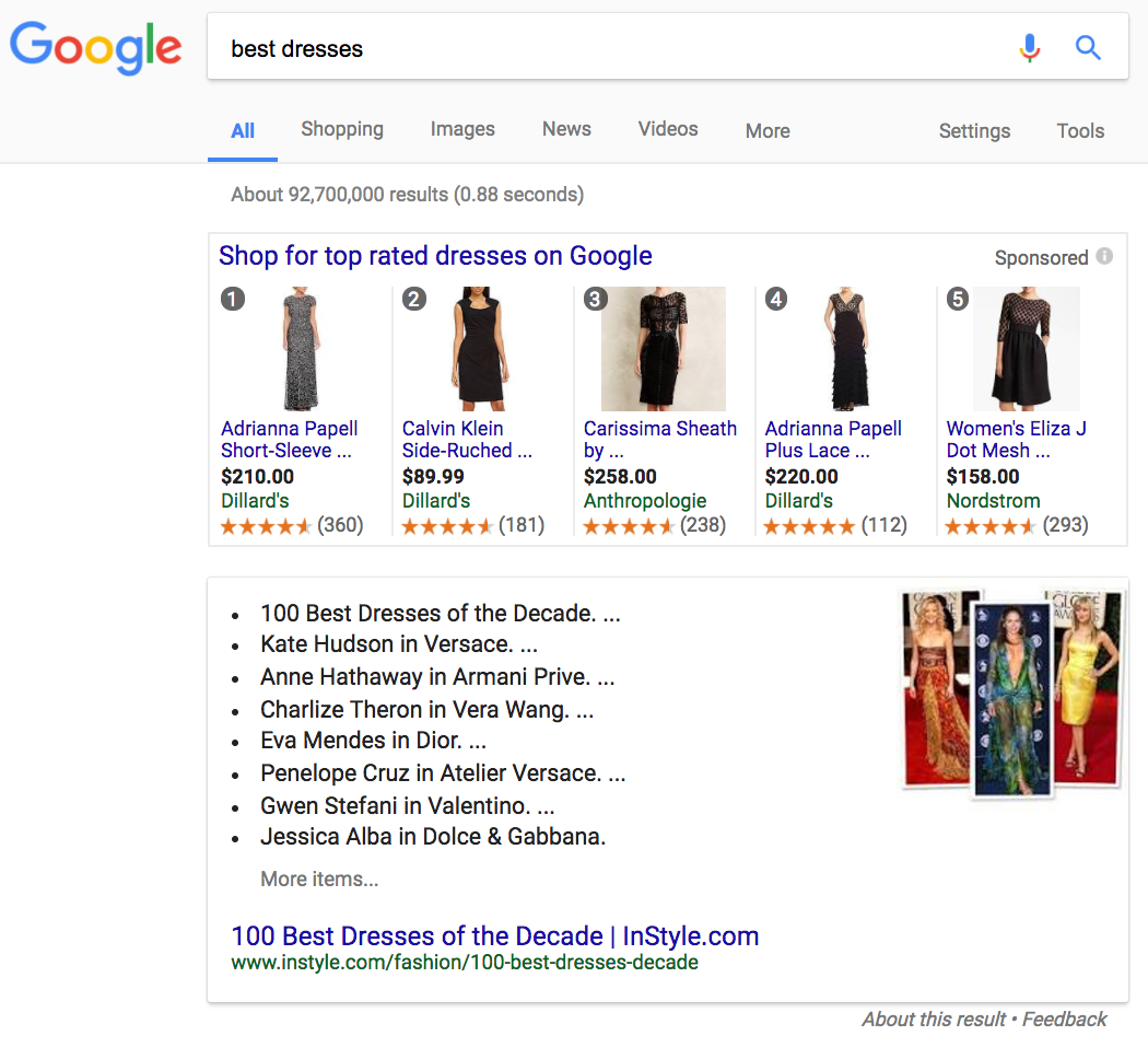 best dresses serp features