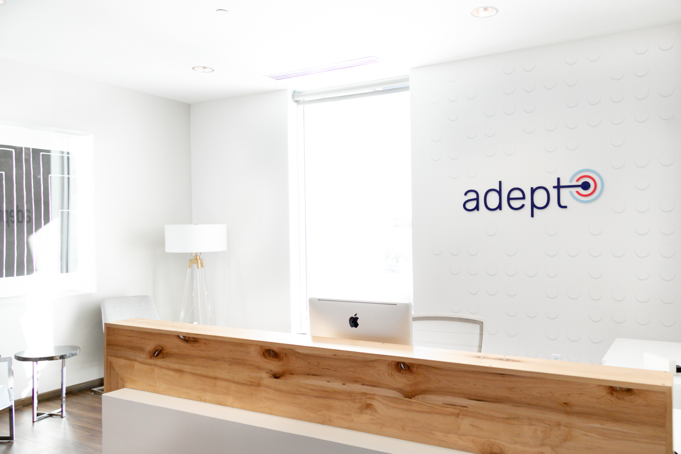 A picture of Adept's front desk in our Columbus office.